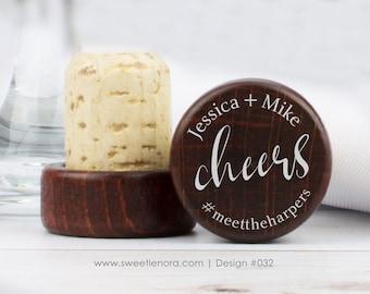 Personalized Wine Stopper - Cheers - Custom Wine Stopper - Wood Wine Stopper - Wedding Favor - Wedding Gift - 032