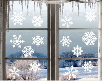 Winter Snowflakes Window Decals - Winter Holiday Decor - Snowflake Vinyl Wall Decals - Christmas Holiday Decorations - 14ct Variety Pack