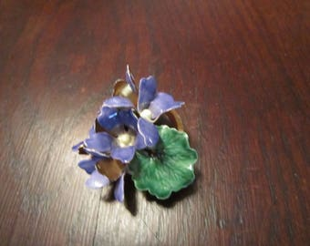 Sandor Brooch Violets with Enamel and Faux Pearls