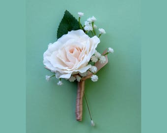 Rose Boutonniere,  Blush Rose, Baby's Breath, Made to Order, Blush Wedding, Ribbon Wrapped Boutonniere, Groomsmen, Prom Flowers