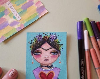 Frida kahlo atc aceo whimsy artists trading card