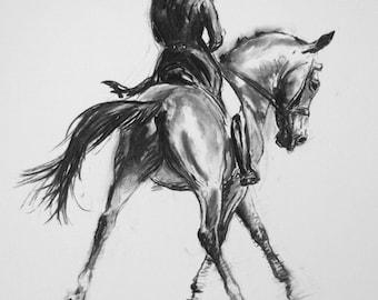 Beautiful Equine horse art horse gift wall art home decor dressage horse print 'Fluid II' from an original charcoal sketch