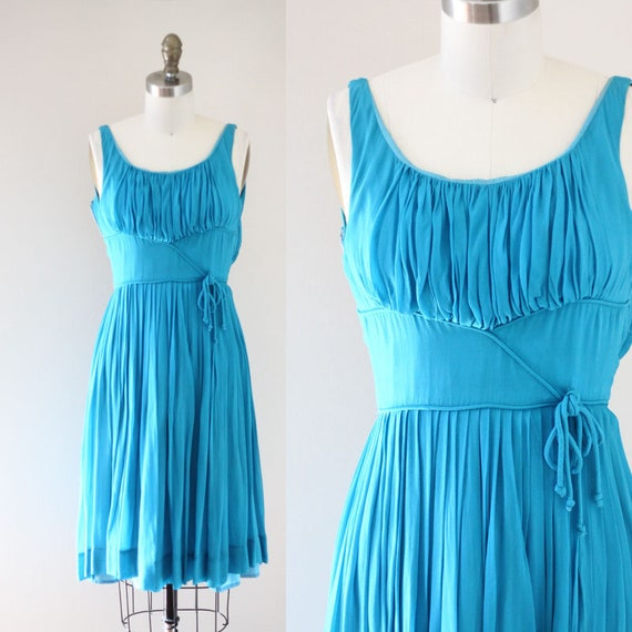 1960s bright blue chiffon dress // 1960s party dress // vintage dress