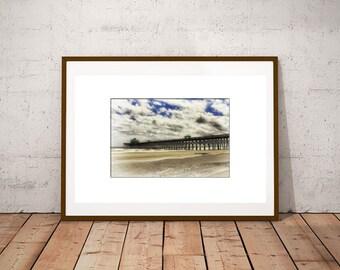 Folly Beach Pier-Large Wall Art-Coastal Landscape-Fine Art Photography-Horizontal Print-South Carolina Wall Decor-Beach Photography