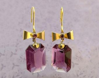 Viola - Italian Vintage Jewelry, Big Swarovski Crystal, Amethyst color