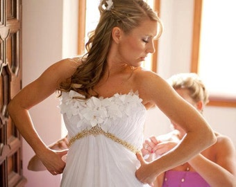 White and Gold Wedding Dress with Beading and Flowers