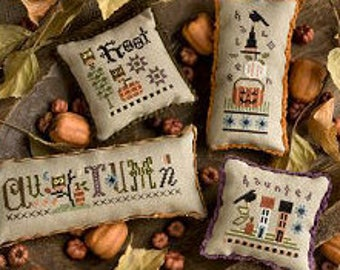 LIZZIE*KATE Autumn Smalls counted cross stitch patterns INCLUDES Embellishment Pack at thecottageneedle.com Halloween