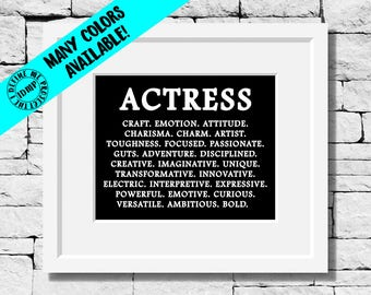 Actress Quote, Actress Definition Print, Actress Typography, Actress Minimalist Print, Actress Quote Print, Actress Print, Actress Gift
