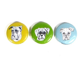 Boxer dog magnet set