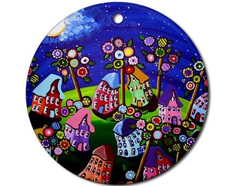 Funky Colorful Houses Trees 2 Folk Art Fun Whimsical Colorful Round Porcelain Ornament