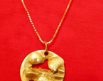 Vintage Brass Sand-Cast Pendant  Art Pieceby Hank Kaminsky