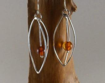 amber pod earrings - sterling silver