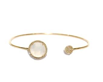 Yellow Gold Pave Diamond Rainbow Moonstone Open Bracelet/Cuff.