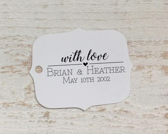 With Love Wedding Favor Tags, Personalized Gift Tags, Favor Bag Tag, Wedding Thank You Tags, Bridal Shower, Thank You Tags, Wedding Thanks