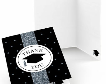 Graduation Party Thank You Cards - Hassle Worth The Tassel - Silver Thank You Card - Graduation Party Supplies - Set of 8 Folding Note Cards