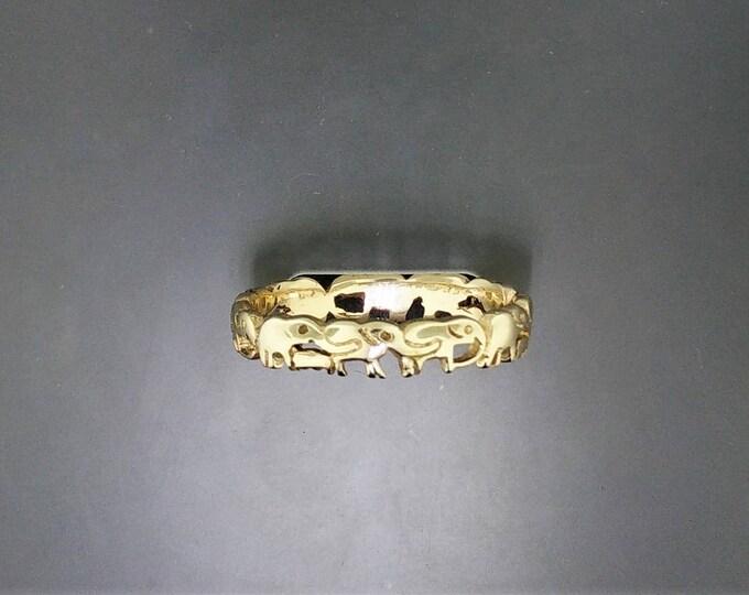 Handmade Elephant Ring in Antique Bronze
