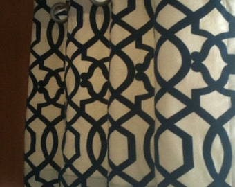 50 x 14 Grommet black velvet trellis Valance with Lining- ready to ship