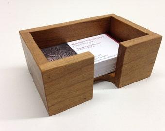 Business Card Holder Cherry Wood