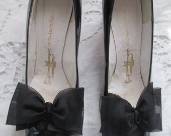 1960's Black Patent PUMPS With Large Front Silk Bow by STACCATOS/Bullocks