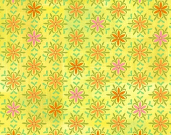 SALE - Yellow Floral Medallions from the Jardiniere Collection by Jennifer Brinley for Studio E Fabrics