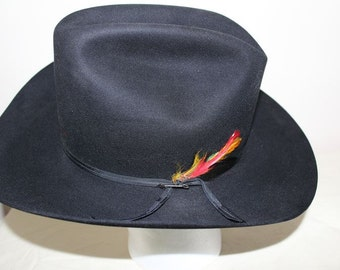 Vintage Stetson 7X Black Fur Felt  Western Hat Size 7 1/2 Shudde Bros. Houston Texas