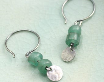 Tradewinds Drop Earrings in Sterling Silver and Sage Green Matte Glass