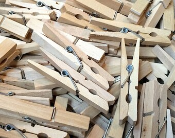 48 Large Wooden Spring Clothespins - 2.875 Inch Wood Clothespins - Craft Gift Wrap Packaging Party Supplies