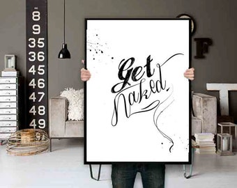 Get Naked Bathroom Wall art Bathroom Decor Bathroom Wall Decor Black and white Bathroom Printable