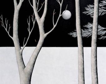 Midnight Walk - Archival 8x8 Art Print - Contemporary Landscape Painting - Night Forest - by Natasha Newton