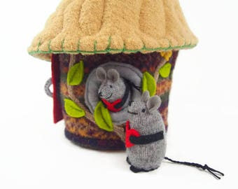 Mouse House, stuffed animal, toy mouse, Valentine mouse, Valentine gift, waldorf toy, waldorf animal, stuffed toy