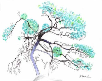 Print of LANDSCAPE DRAWING, tree ink drawing, colored pencil drawing, fine line tree drawing, tree sketch, tree drawing, drawing print