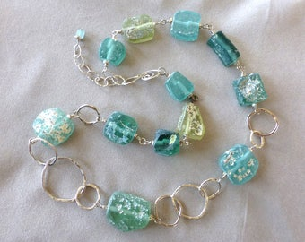 Roman Glass, Roman Glass Necklace, Ancient Roman Glass and Hammered Silver, Gifts for Her