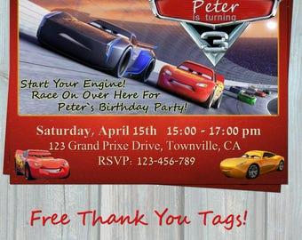 Cars 3 Birthday Invitation, MCQueen Birthday Party Invitation, Race Party 2017