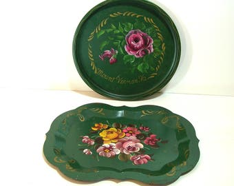 Set of Green Tole Trays, Set of Two, Hand Painted