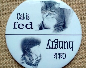 """Feed the Cat Reminder, Big Magnet, Pencil Art, Cat is Hungry, Cat is Fed, 3.5"""" Round Fridge Magnet"""