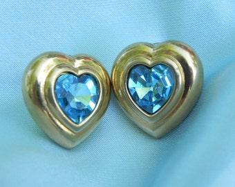 Vintage Blue Topaz Rhinestone Heart Earrings