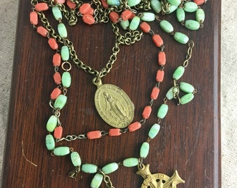 Duet, vintage assemblage necklace, religious, rosary, coral, mint, gold tone medals, antique, cross
