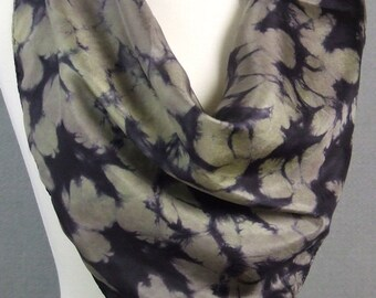 Square Silk Scarf Hand Dyed Shibori Patina Green Khaki Black Ancient Relic Collection