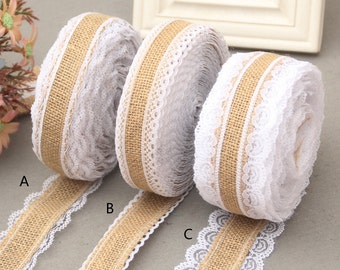 Burlap Lace Ribbon ,Wedding Deco trimming sold by yard,Natural Burlap Ribbon with off white Lace in both sides