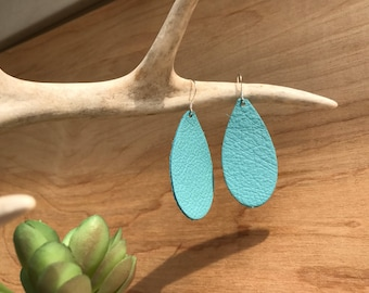 Aqua Blue Leather Teardrop Earrings