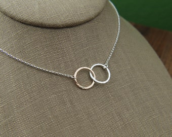 Sterling silver and gold filled hammered infinity links necklace, hammered circles, mixed metals, gold and silver, mother's day