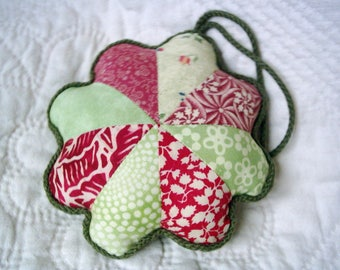 Green and red Patchwork Pincushion Flower