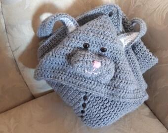 Crocheted bunny hooded blanket