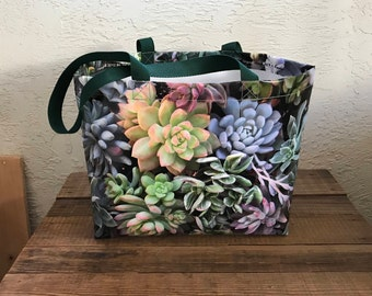 Large Vinyl Tote Bag - Assorted Succulents - Different image on each side