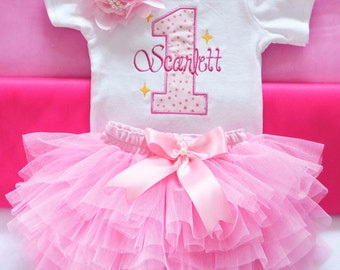 Baby Girl 1st Birthday Outfit,First Birthday Girl Outfit,first birthday girls pink gold outfit,1st birthday outfit girl,pink gold birthday
