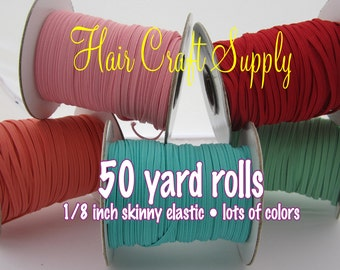 TEAL - Skinny Elastic 50 yard roll for baby and adult headbands thin one eighth inch width rolled on tiny rolls for storage