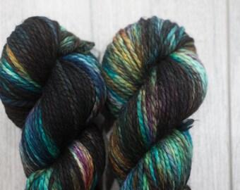 Bulky weight merino yarn. 80/20 Superwash Merino/Nylon. Chunky Weight yarn. Terokkar. Multicolored yarn. Purple Blue Green brown