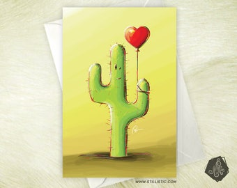 Greeting card celebrates mothers friendship Valentines Cactus and his balloon