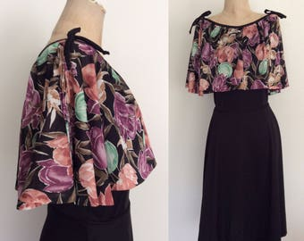 1970's Black Polyester Dress w/ Floral Cape Size Small Medium by Maeberry Vintage