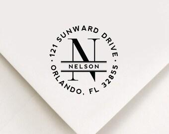 Monogram Return Address Stamp, Custom Stamp, Self Inking Stamp, Wedding Stamp, Custom Address Stamp, Housewarming, New Home Gift,  Pleasures